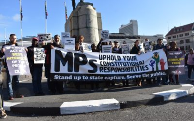 Civil society organisations picket outside Parliament to protest corruption