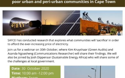 Webinar: Assessing the impact of the electricity price hikes on poor urban and peri-urban communities in Cape Town
