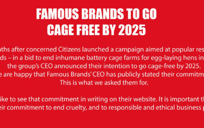 Famous Brands to go Cage-Free by 2025
